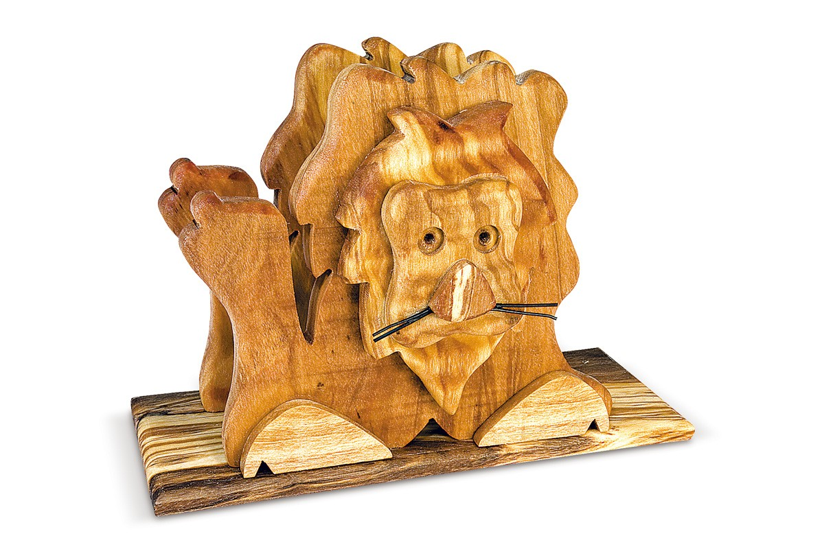 Napkin holder with lion relief