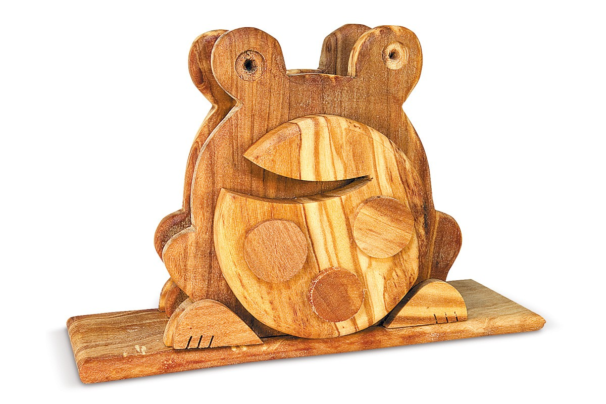 Napkin holder with frog relief