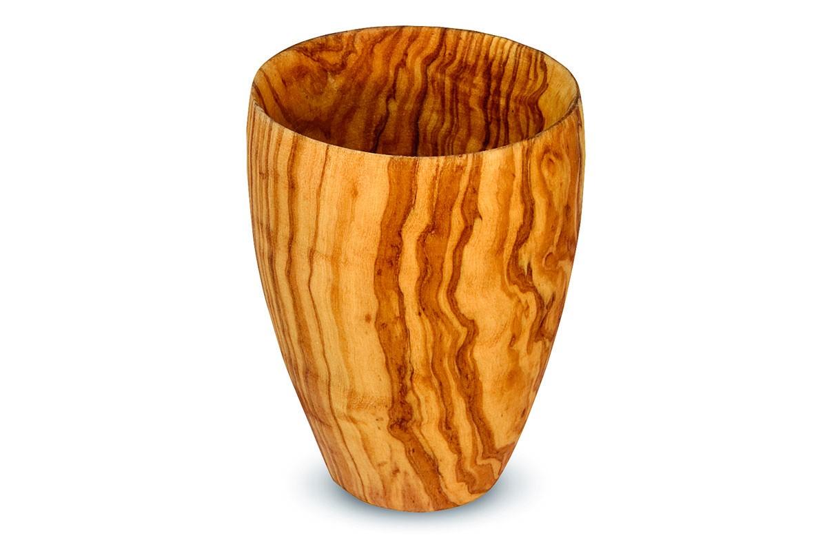 Bicchiere realizzato in legno di ulivo arte legno spello for Bicchieri in legno